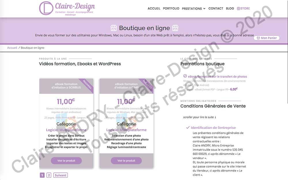 Page d'accueil de la future boutique en ligne