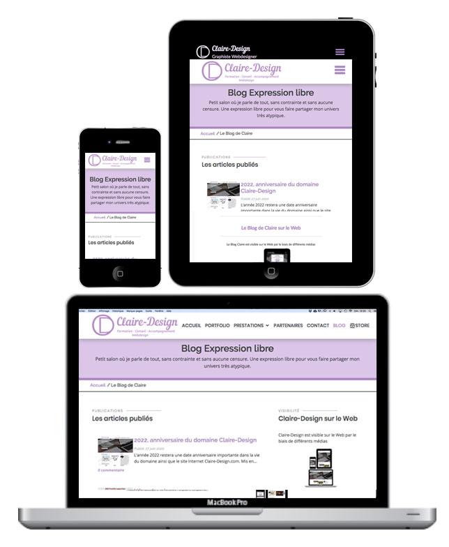 Blog Claire-Design, visible sur tous les supports