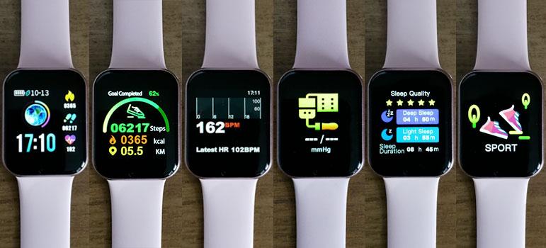 différentes interfaces de la montres