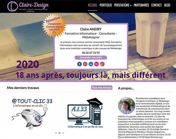 Version actuelle du site Claire-Design, RWD - Depuis 2016