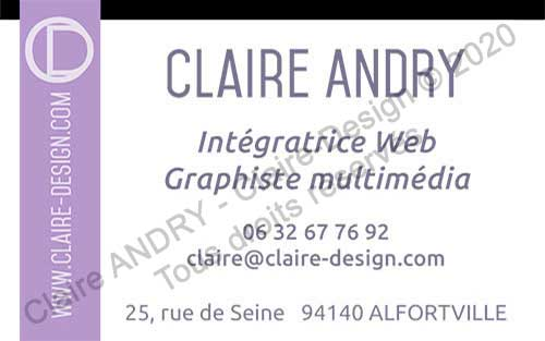 Graphisme print carte commerciale Claire ANDRY