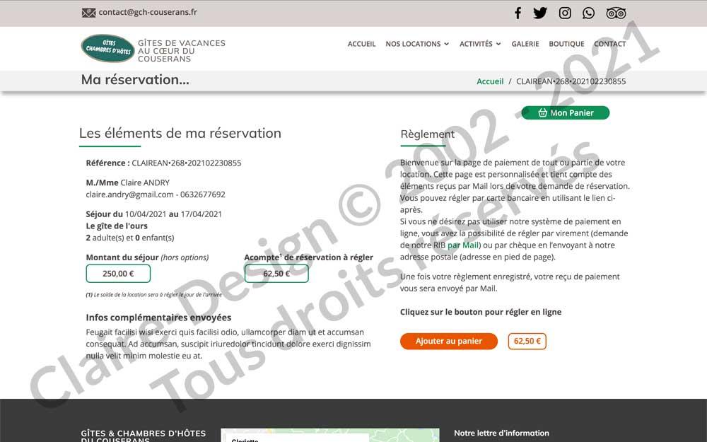Paiement réservation en ligne